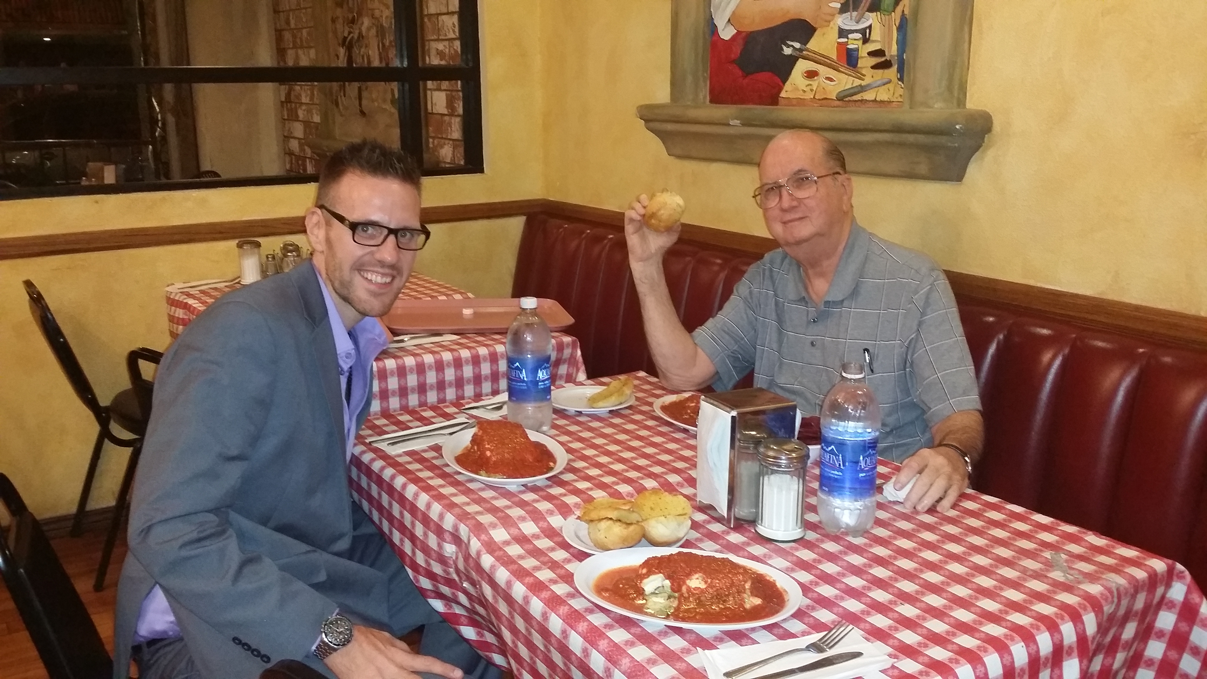 Jonny and Jordan enjoying the best Italian food on the planet at Monte Carlo's Deli & Pinocchio's in Burbank, California.