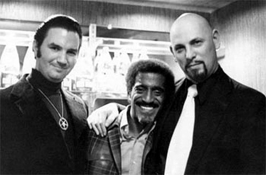 From left to right: Michael Aquino, Sammy Davis J.R., and Anton Levey.